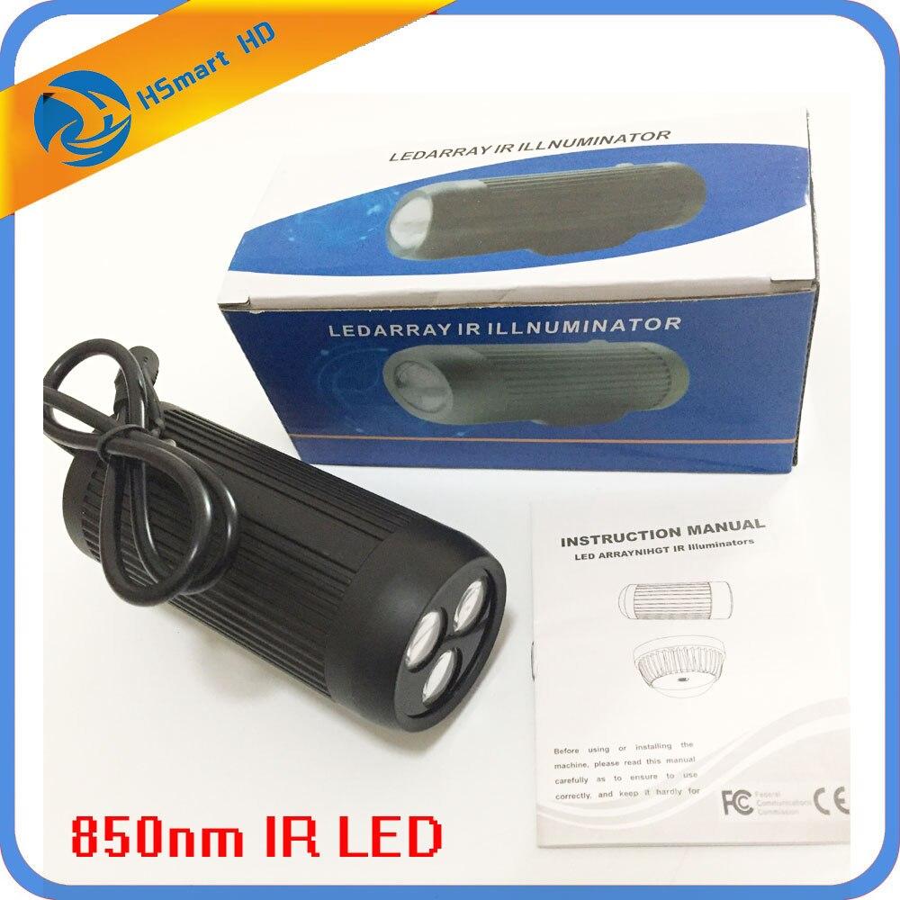 Surveillance vidéo 5-80 degrés de mise au point réglable 12 V Vision nocturne 850nm IR lampe de lumière infrarouge illuminateur pour caméras de vidéosurveillance