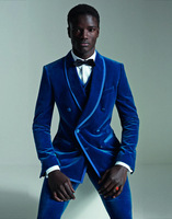 2018 New Fashion Double Breasted Slim Fit 3 Piece Tuxedos Royal Blue Velvet Men Suit Groomsmen Beat Man Wedding Suits