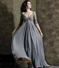 Chic Plus Lace Mother Of The Bride Dresses Sleeves V-Neck Empire Waist Groom Dress Floor-Length Chiffon Evening gown