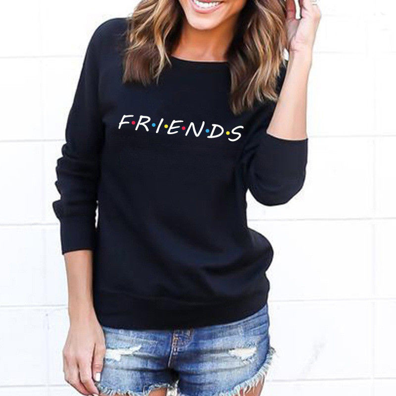 Brand New 19 Womens 5 Colors Letters FRIENDS Print Long Sleeve Hoodie Sweatshirt Ladies Slouch Pullover Jumper Tops S M L XL 4