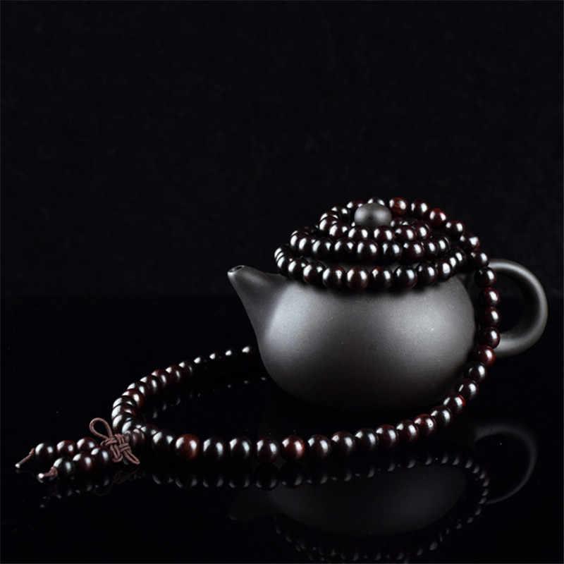 Sândalo preto 108 grânulos rosário braceletes feminino masculino jóias oração madeira natural frisado pulseira homme