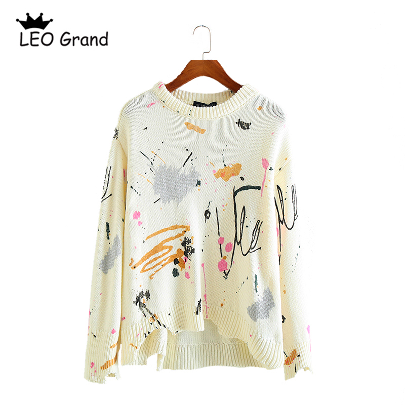 Leo Grand women casual chic printed long sleeves pullovers O neck ripped design fashion sweaters knitted casual tops 910069