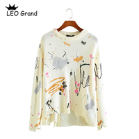 Vee Top women casual chic printed long sleeves pullovers O neck ripped design fashion sweaters knitted casual tops 910069