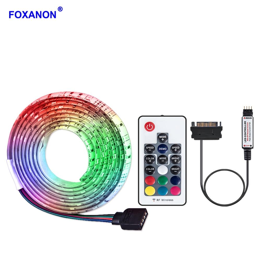 SATA Power Supply Interface RGB LED Strip Light 1m 2m 3m 4m 5m DC 12V 5050 2835 Diode Strip Tape Full Kit for PC Computer Case