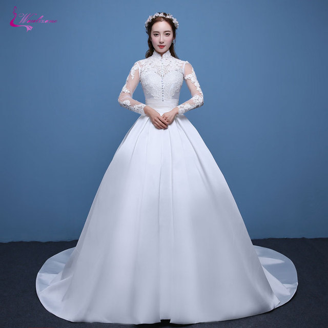 Waulizane Shiny Lustrous Satin Ball Gown Wedding Dress Appliques ...