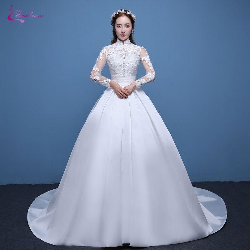 Waulizane Shiny Lustrous Satin Ball Gown Wedding Dress Appliques High Collar Brush Train Vintage Princess Bridal Gowns Hot Sale