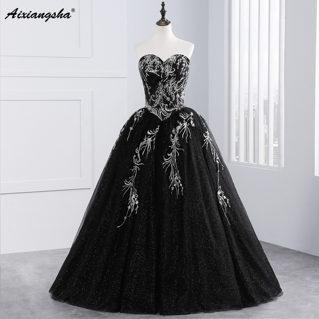 Black Quinceanera Dresses Tulle With Gold Embroidery Beaded Sweet 16 Dresses Puffy Ball Gown Vestido De 15 Anos Vestidos 2017