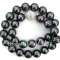 Natural black 10mm round pearl shell chains necklace wholesale price hot sale elegant women jewelry 18inch MY4542