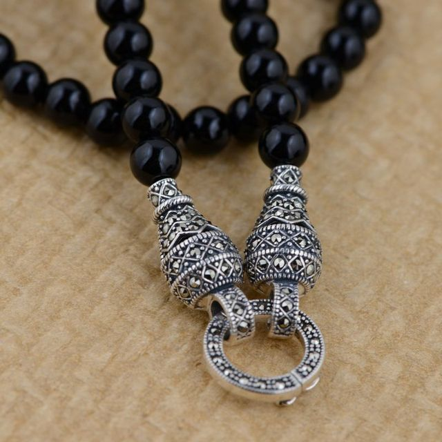 GZ 6mm Black Agate Bead Chain for Men 60cm 100% 925 Silver Necklace Accessorice S925 Thai Solid Silver Jewelry Making Necklaces