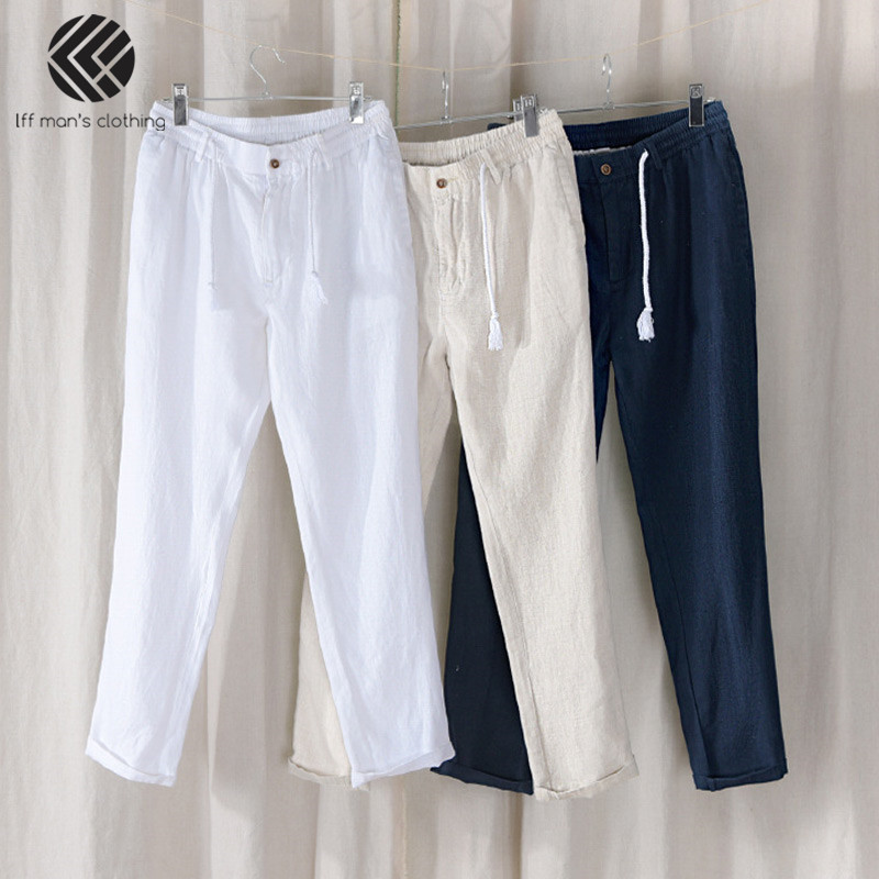 Spring Summer Men Fashion Brand Chinese Style Solid White Linen Straight Ankle-Length Pants Male Casual Thin Trousers Beach Pant