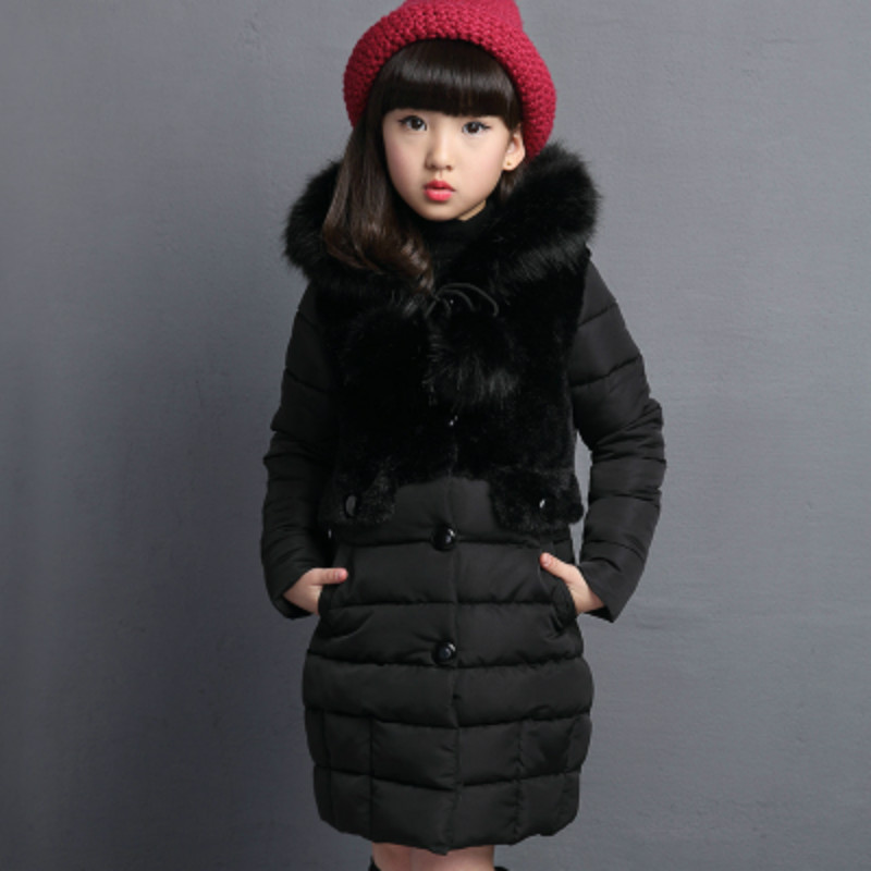 winter girls down jackets long warm cotton-padded new thicken coat outerwear hooded Artificial fur collar parka overcoat 100-140 цена