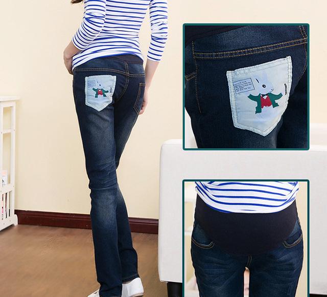 Outono de algodão mulheres grávidas jeans stretch escuro adicionar leggings maternidade grávidas calças grávidas roupas