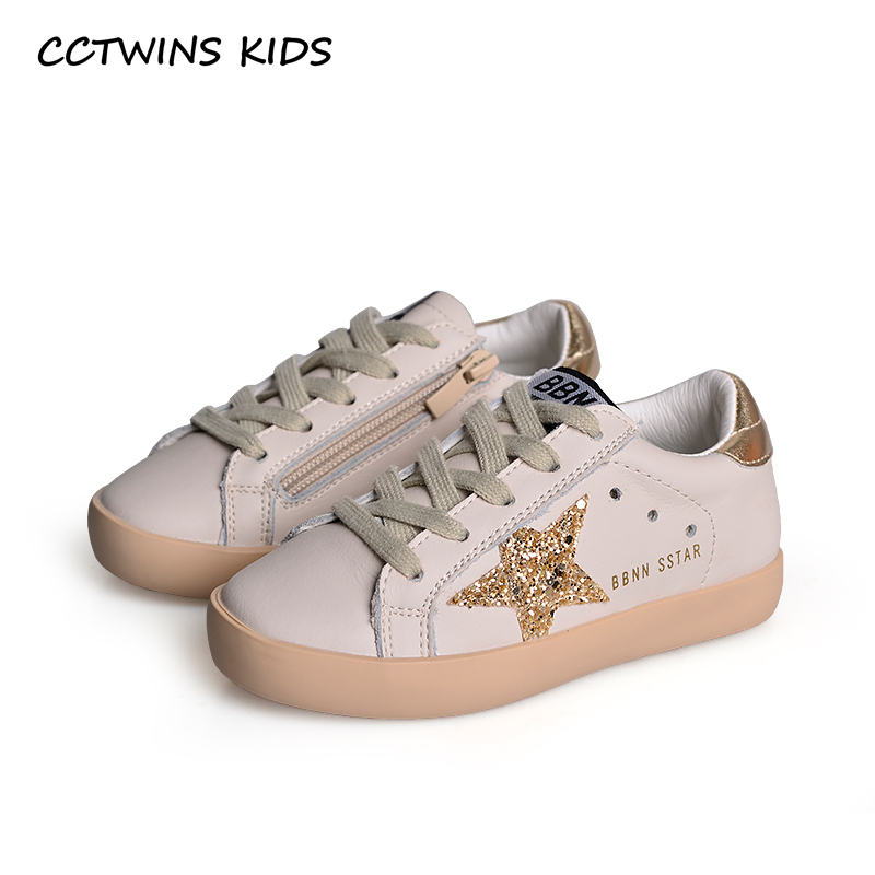 Cctwins Kids 2019 New Fashion Baby Girls Sport Star Gold Shoes Kids Glitter Sneaker Children Leather Breathable Trainer Fsl2239
