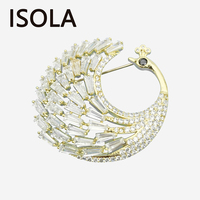 ISOLA Elegant Attractive Cubic Zirconia Luxury Peacock Brooches Pins Noble Scarf Buckle Refined Hat Pins For