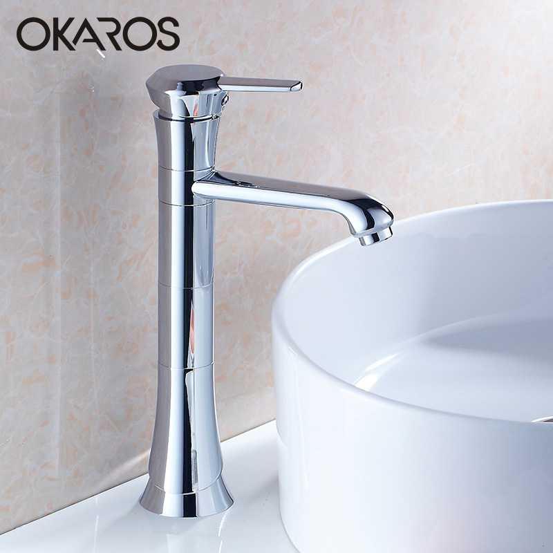 OKAROS Bathroom Basin Faucet 360 Degree Rotation High Style Chrome Brass Single Handle Hot Cold Water Tap Mixer Torneira Cozinha beelee modern bathroom products chrome and black hot and cold water basin faucet mixer single handle torneira water tap bl6601bh