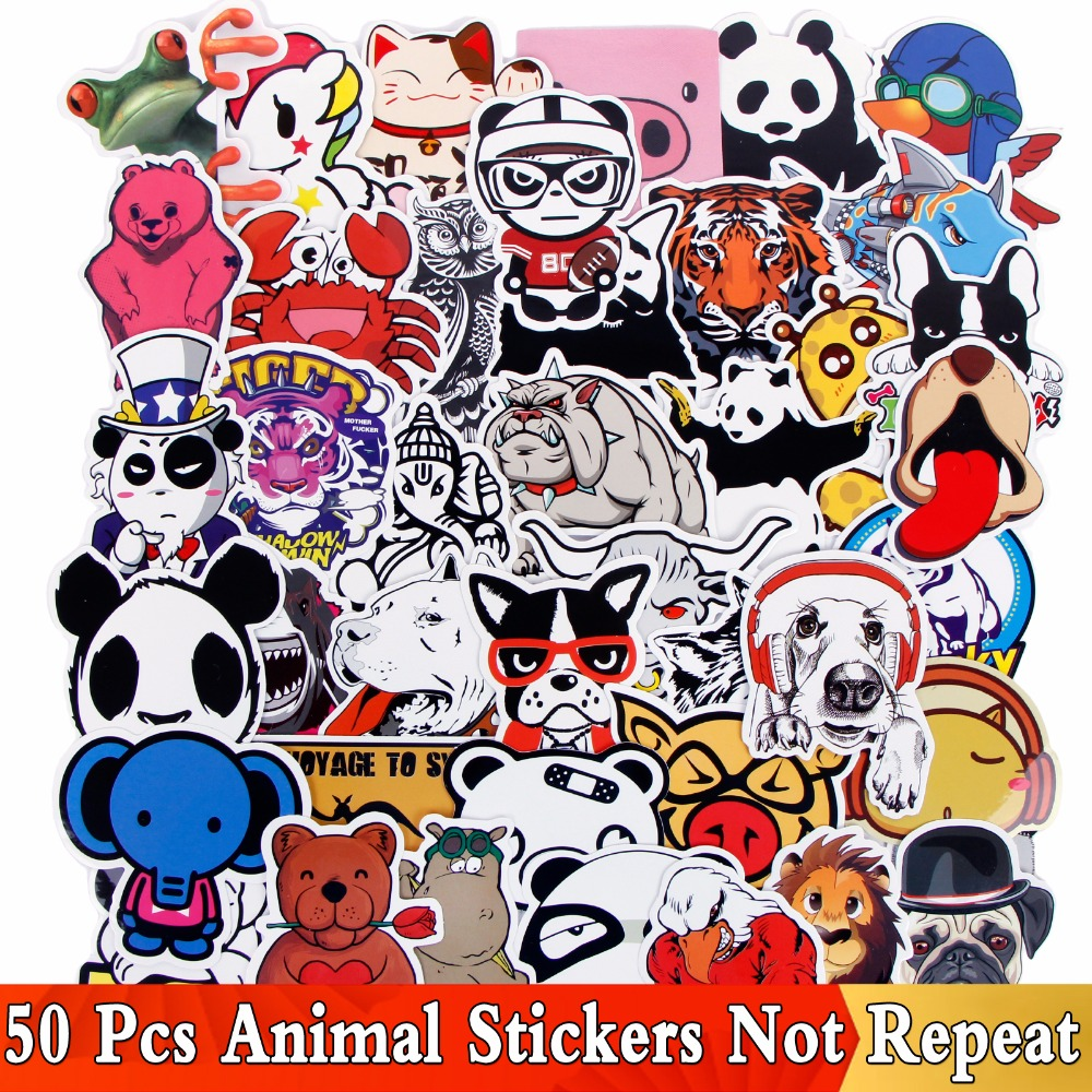 50 PCS / Lot Animal Cartoon Funny Mix Stickers For Bike Laptop Travel Case Car Skateboard Motorcycle Phone JDM Cool DIY Sticker