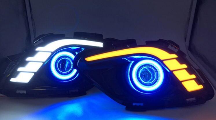 Eosuns удара глаза ангела + LED дневного света DRL + туман с объектива проектора + сигнал поворота + ночник для Mazda 6 Atenza