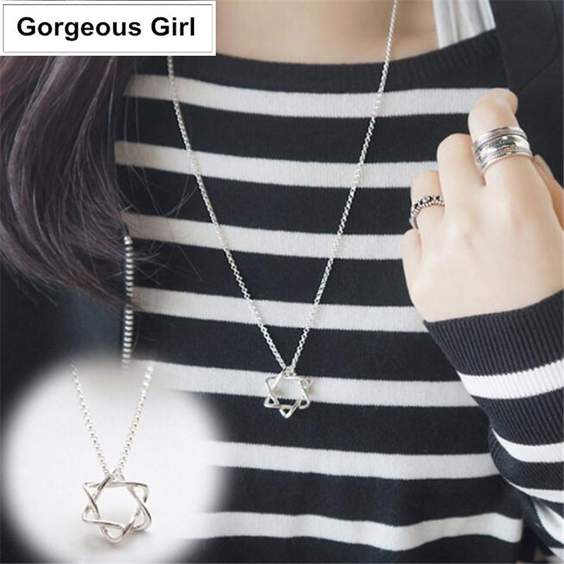 925 Sterling Silver Six-pointed Star Maxi Necklace Long Necklace for Sweater Christmas Gift