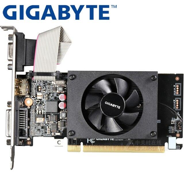 GIGABYTE Graphics Card GT710 1GB 64Bit GDDR3 Video Cards for nVIDIA VGA Cards Geforce Original GT 710 Used Hdmi Dvi game 1