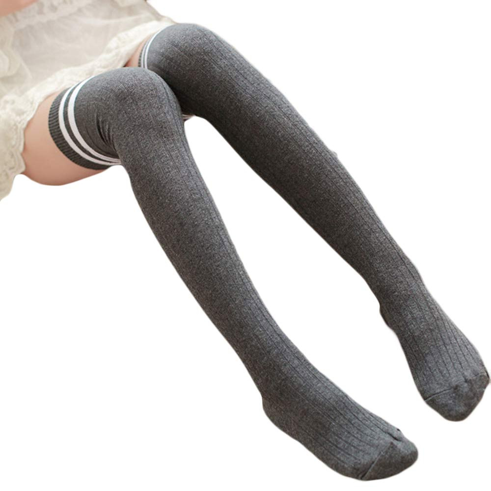 Women Stockings Stripe Winter Over Knee Leg Warme Soft Knitting Crochet Football Sport Student Calcetines Mujer #YY