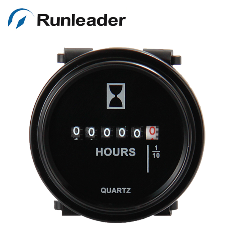 50pcs lot Runleader Round DC Mechanical Counter Running Hours Meter Used For Any Engine Boat