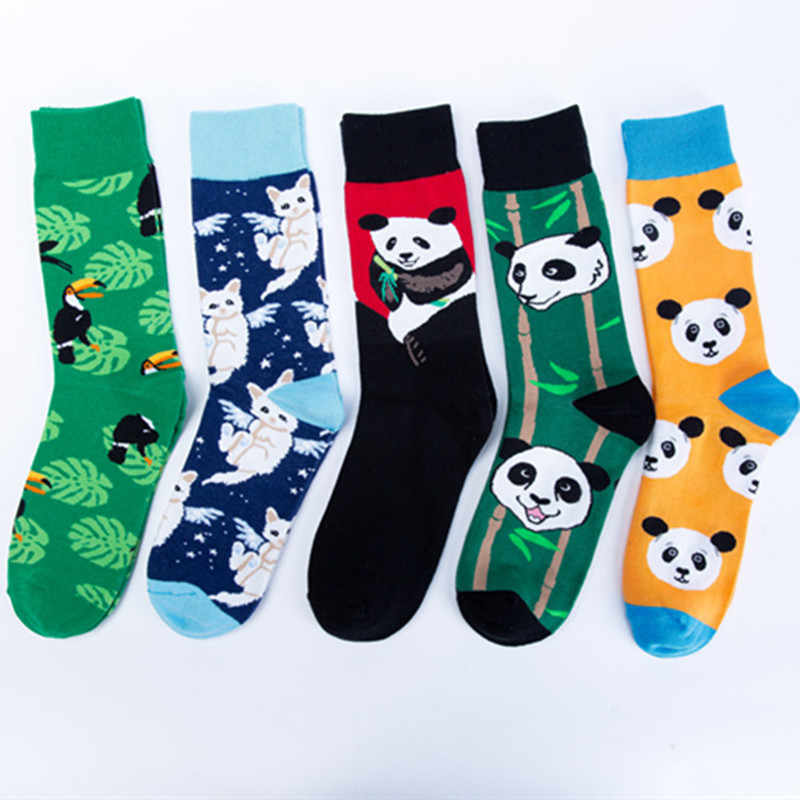 2019 Fashion Print Chinese Panda White Cat Bird Pattern Colorful Happy Socks Men Casual Ventilation Cotton Sock Autumn Winter