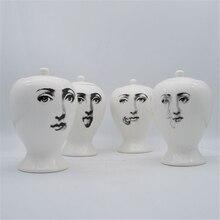 Creative Fornasetti Ceramic Storage Jar Kitchen Food Container Candy Jar Small Vase Living Room Desktop Decorative Accessories