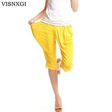 VISNXGI Women Casual Summer Short Leggings Harem Pants Candy Color Fashion Pleated Harem Pants Loose Leggings Pocket Harem Pants cheap spandex Microfiber Calf-Length Pants W005 Solid Ages 18-35 Years Old Pockets NONE Corduroy Elastic Waist 81 content - 90