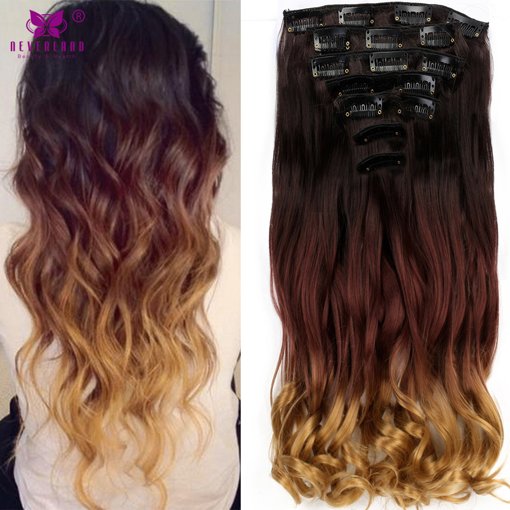 Aimei 20 7pcsset 16clips Wavy Synthetic Hairpieces Ombre Color