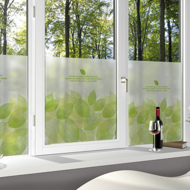 Window stickers translucent bathroom sliding door self adhesive glass film spring green leaves 60x100cm