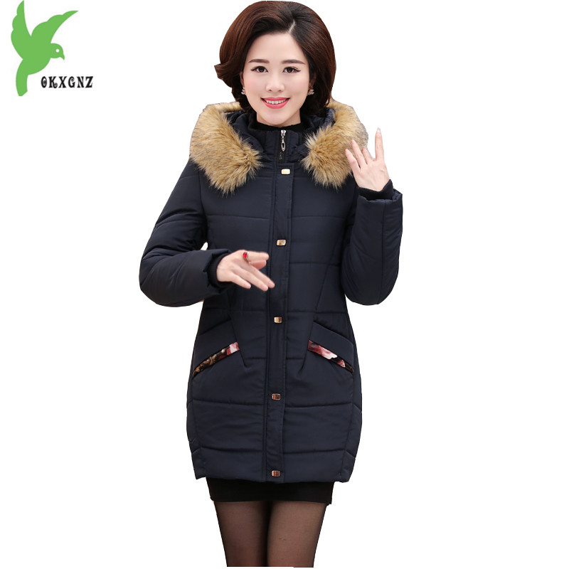 Winter Women Cotton Jackets New Fashion Fur Hooded Coat Middle-aged Mother Warm Casual Tops Plus Size Slim Outerwear OKXGNZ A734  olgitum 2017 women vest jackets new fashion thickening solid casual cotton fashion hooded outerwear