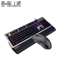 E-3LUE K751 Gaming Keyboard+Gaming Mouse RGB Aluminuml Alloy Panel Full Size Removable Supports macro control and color setting