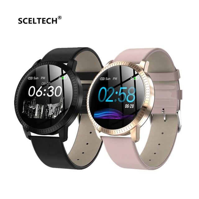 SCELTECH CF18 ساعة ذكية OLED شاشة ملونة IP67 ضغط الدم الأكسجين مراقب معدل ضربات القلب الرجال النساء Smartwatch الذكية الفرقة