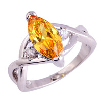 lingmei Wholesale Fashion Dazzling Jewelry Citrine & White Topaz 925 Silver Ring Size 6 7 8 9 10 11 Noble Rings For Women Men