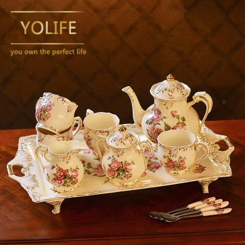 Китайский керамический чайник Набор Прекрасный фарфор кофе креативный чайник Набор чашек подарок