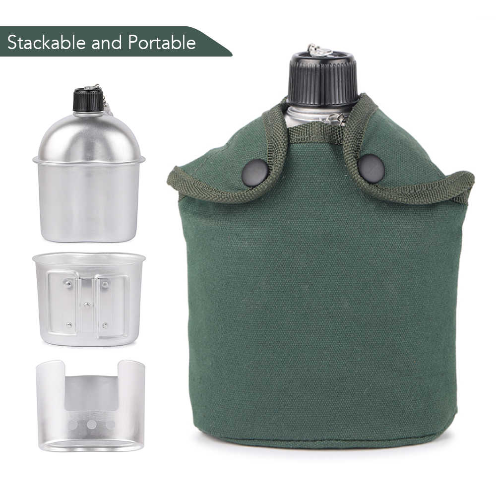 2 Sets Portable Stainless Steel 1L Canteen Kettle+0.6L Cup for Outdoor Use