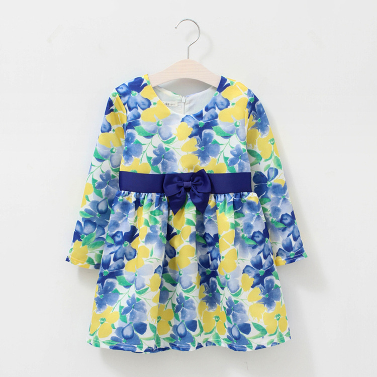 ФОТО Baby Girls Dresses Brand Princess Dress Girl Clothes Floral Print Kids Dresses Children Costumes 1-12 Years Old