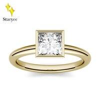 Муассанит кольцо 0.9ct 5,5 мм Принцесса Cut Муассанит Обручение Юбилей кольцо Твердые 14 К желтого золота Лаборатории с бриллиантами обручальное