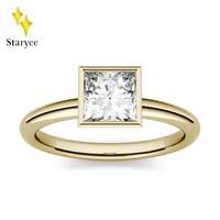 Moissanite Ring 0.9ct 5.5mm Princess Cut Moissanite Engagement Anniversary Ring Solid 14K Yellow Gold Lab Diamond Wedding Band