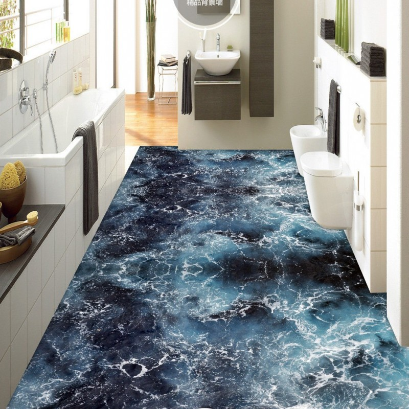 ФОТО Free Shipping Sea water spray 3D floor decoration painting waterproof bathroom lobby bedroom kitchen flooring wallpaper mural
