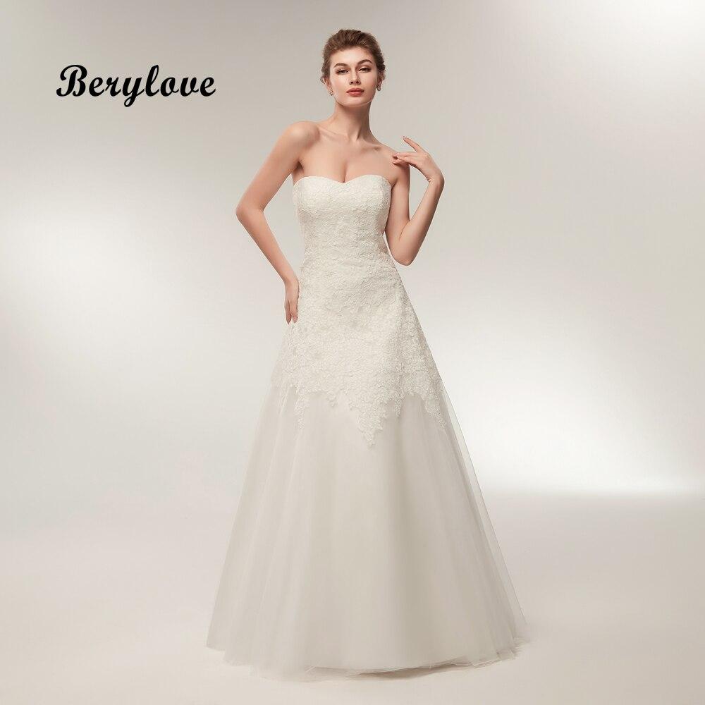 BeryLove Ivory Wedding Dress 2018 Tulle Lace Wedding Dresses Plus ...
