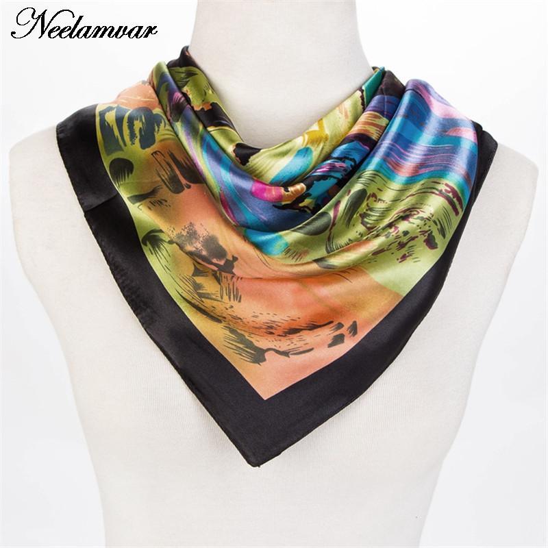 2016 Bandana nueva bufanda de las mujeres colorido arte pintura bufanda de  seda cuadrados pañuelo de