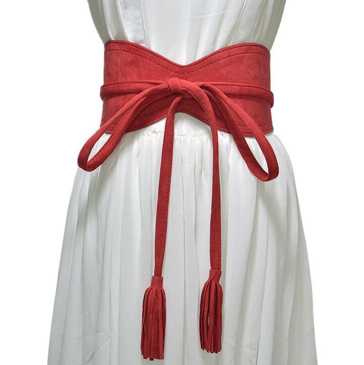 Women's Runway Fashion Imitation Leather Tassel Cummerbunds Female Dress Corsets Waistband Belts Decoration Wide Belt R1396