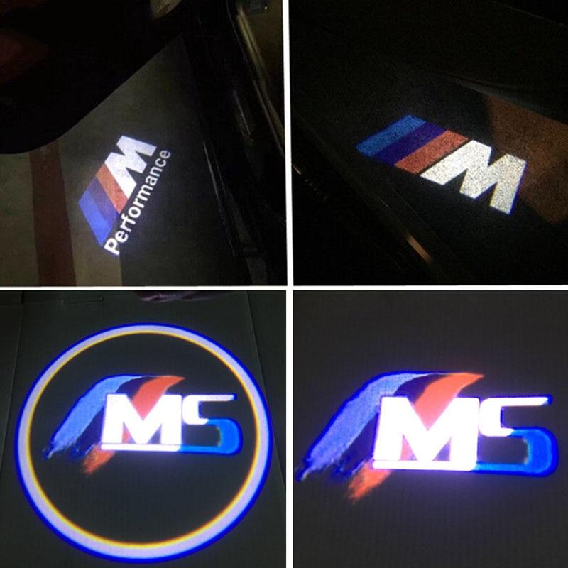 2X No Drilling LED Ghost Shadow Projector Laser Courtesy Logo Light for BMW E39 X5 E53 528i E52 M M5 Logo auto car door logo projector welcome light laser ghost shadow lamp for bmw 5series e39 e53 x5 z8 e52 m performan car accessories