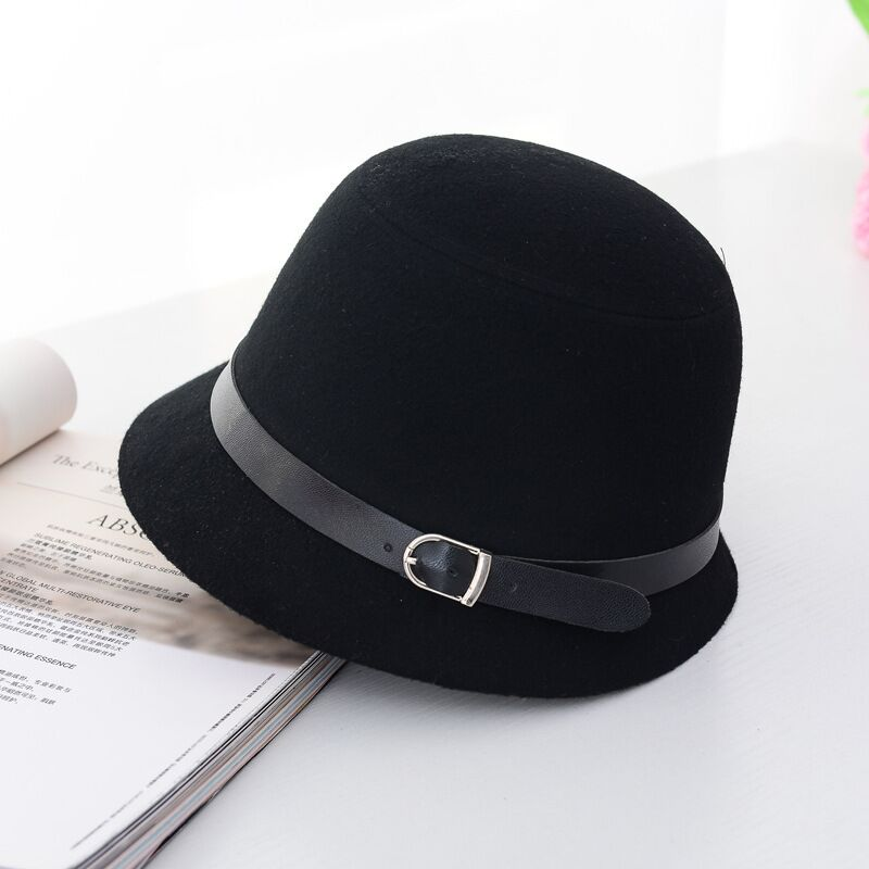 Fedoras hat Fall Winter Women's hat Dome Cloche belt top hat for lady girl floppy cartola female Bowler Equestrian cap 8 colors
