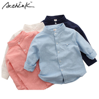 ActhInK Gentle Boys Formal Shirts Kids Linen Cotton Solid Shirts For Flower Boys Wedding Shirts Brand
