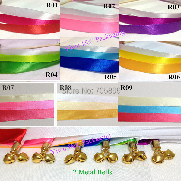 Free Shipping 50pcs Of Wedding 3 Color Ribbon Wands Stream Sticks With Metal End 2 Bells Jco Ra06 In Banners Streamers Confetti