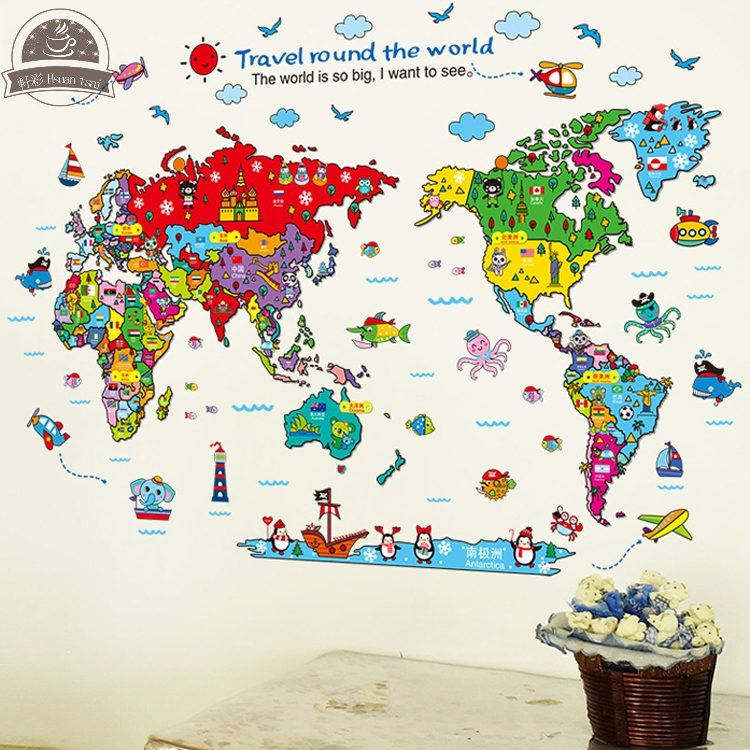 Online buy wholesale world map cartoon from china world map cartoon world map diy vinyl wall stickers for kids rooms home decor art decals 3d poster gumiabroncs Choice Image