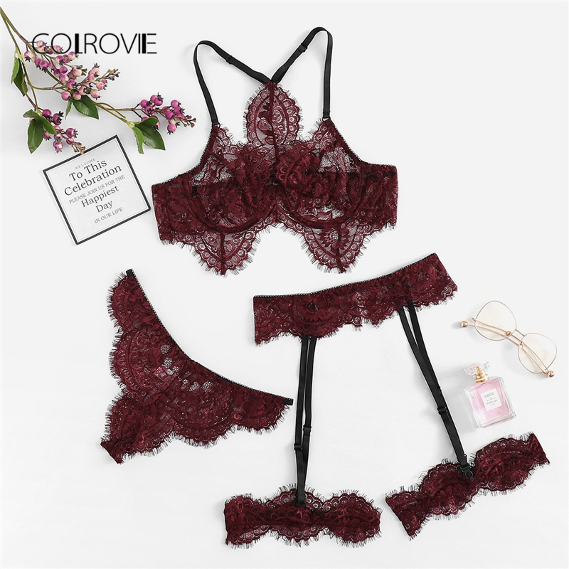 COLROVIE Burgundy Eyelash Lace Garter Floral Lace Intimates Sexy Lingerie   Set   Underwear Women Wireless Transparent   Bra     Set