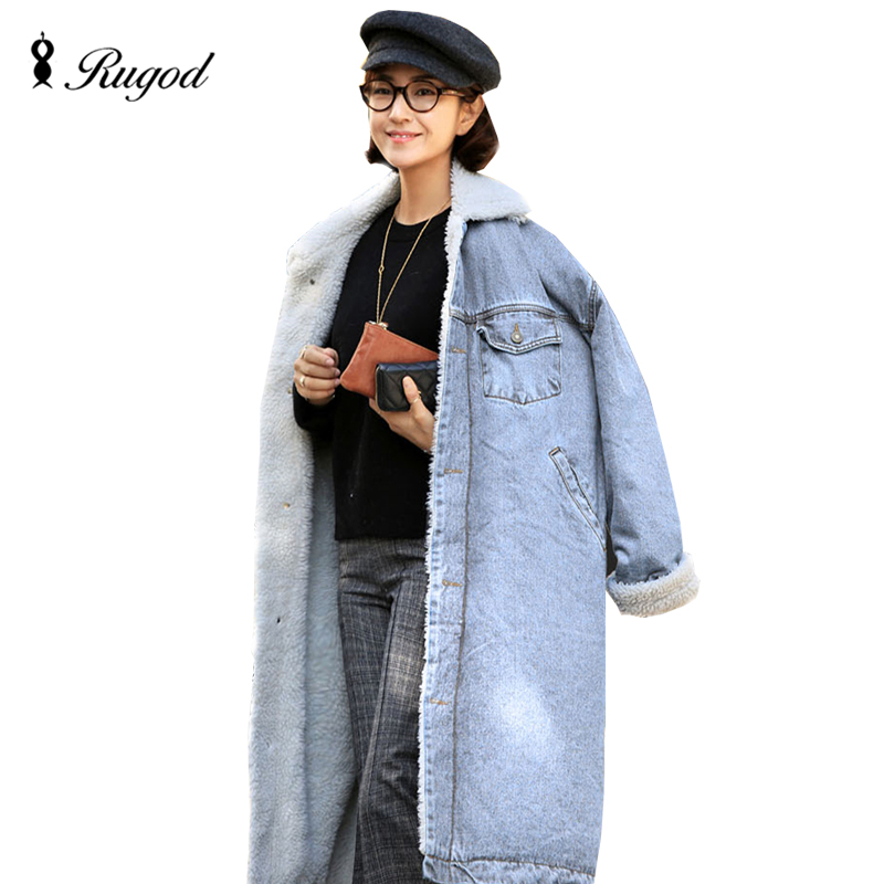 Rugod Thicken X-Long Lamb Velvet Denim   Trench   Coat Winter Long   Trench   Coats for Women Single Breasted Design Overcoat Super Warm